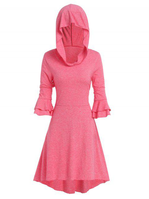 Hooded Layered Poet Sleeve Lace-up High Low Dress - WATERMELON PINK 3XL