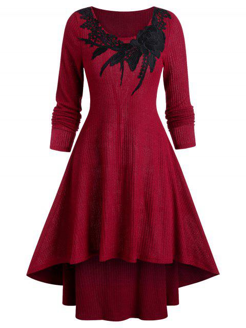 Long Sleeve High Low Maxi Sweater Dress - RED WINE 3XL