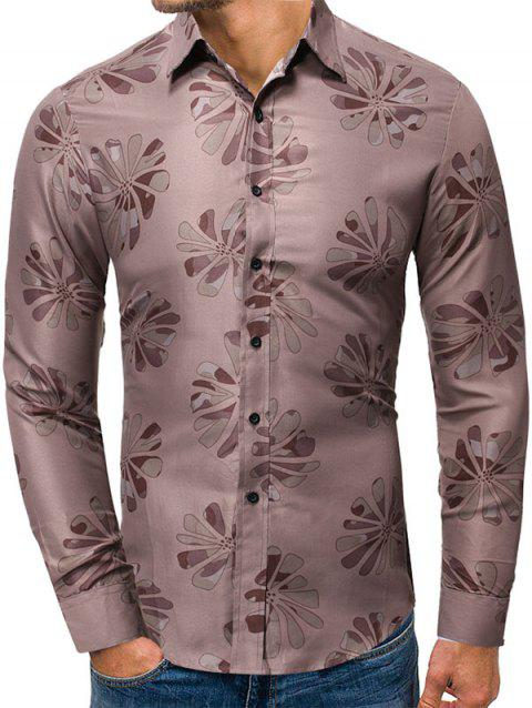 Floral Pattern Button Up Long-sleeved Shirt - PUCE 2XL
