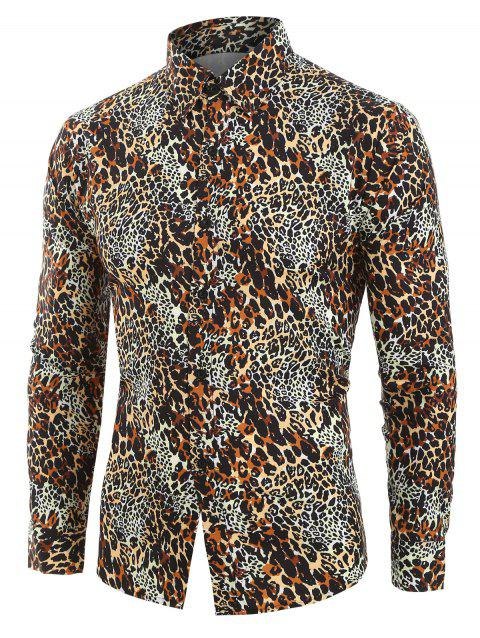 Leopard Print Button Down Long-sleeved Shirt - multicolor 2XL