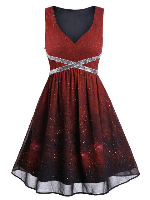 Sequins Galaxy Print Ombre Party Dress - RED WINE 3XL
