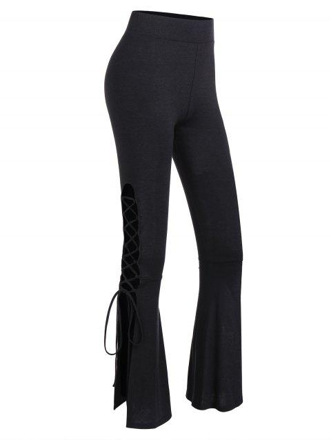Lace Up Bell Bottom Pants - BLACK 2XL