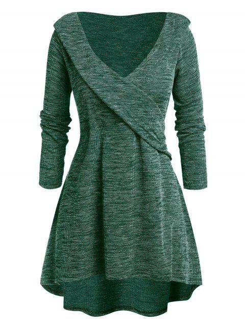 Plus Size Tunic High Low Plunging Neck Sweater