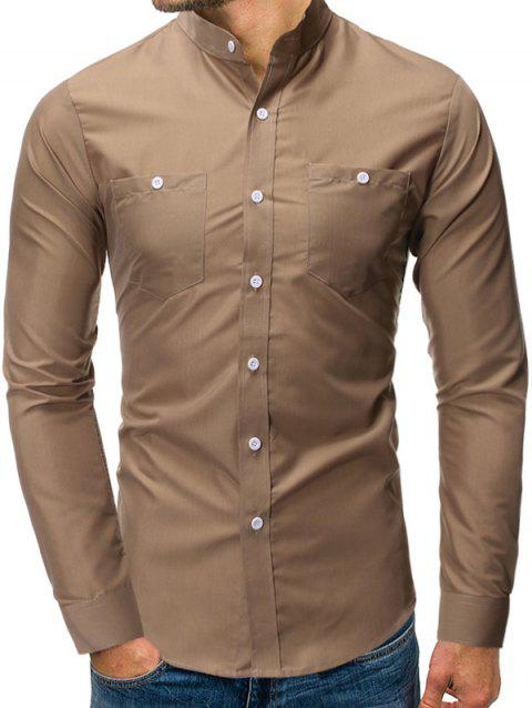 Solid Color Pocket Decoration Long-sleeved Shirt