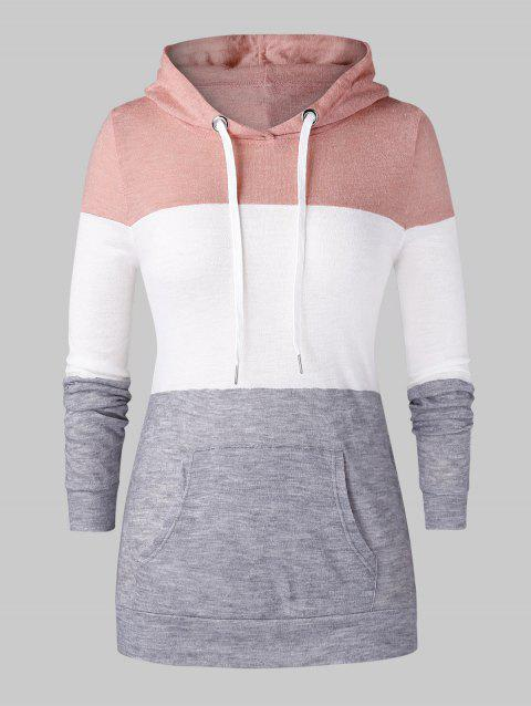 Plus Size Colorblock Pocket Knit Pullover Hoodie - multicolor 3X