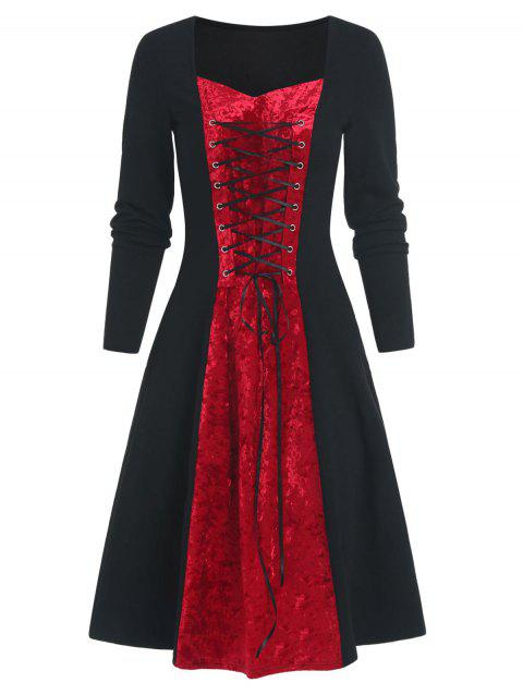 Lace Up Two Tone Velvet Panel Long Sleeve A Line Dress