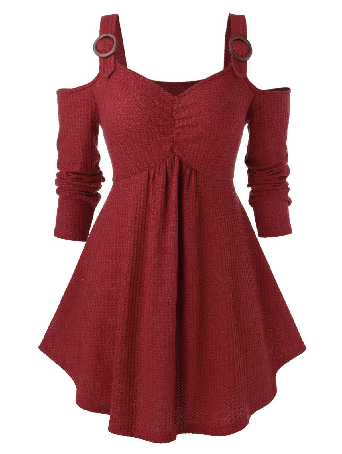Plus Size Cold Shoulder Sweetheart Collar Solid Sweater - CHERRY RED 1X