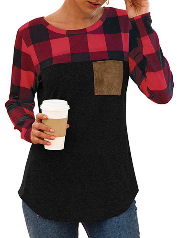 Chest Pocket Plaid Curved Long Sleeve Tee - multicolor A L