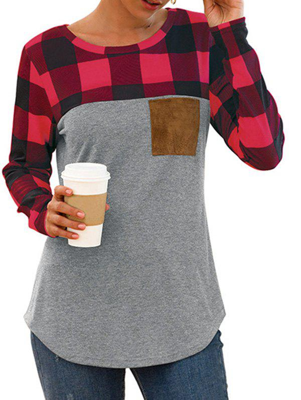Chest Pocket Plaid Curved Long Sleeve Tee - multicolor C XL