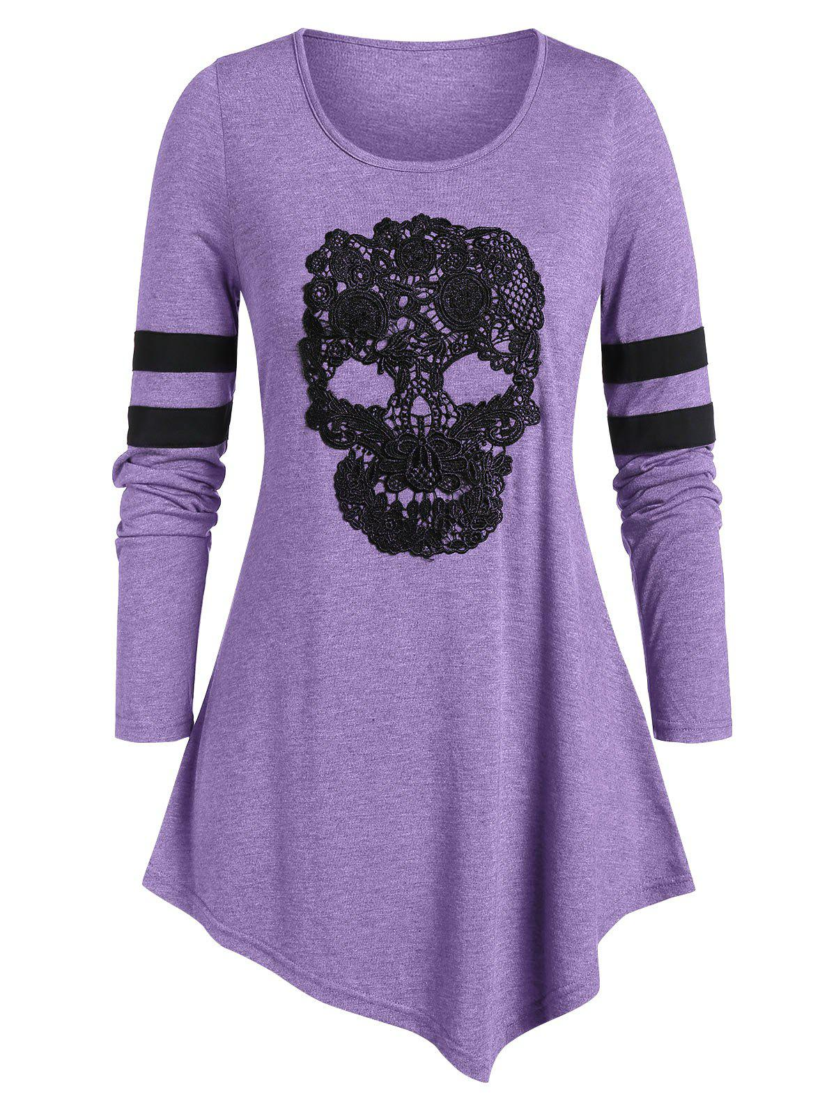 Plus Size Long Sleeve Skull Print Asymmetrical T Shirt - MEDIUM PURPLE L