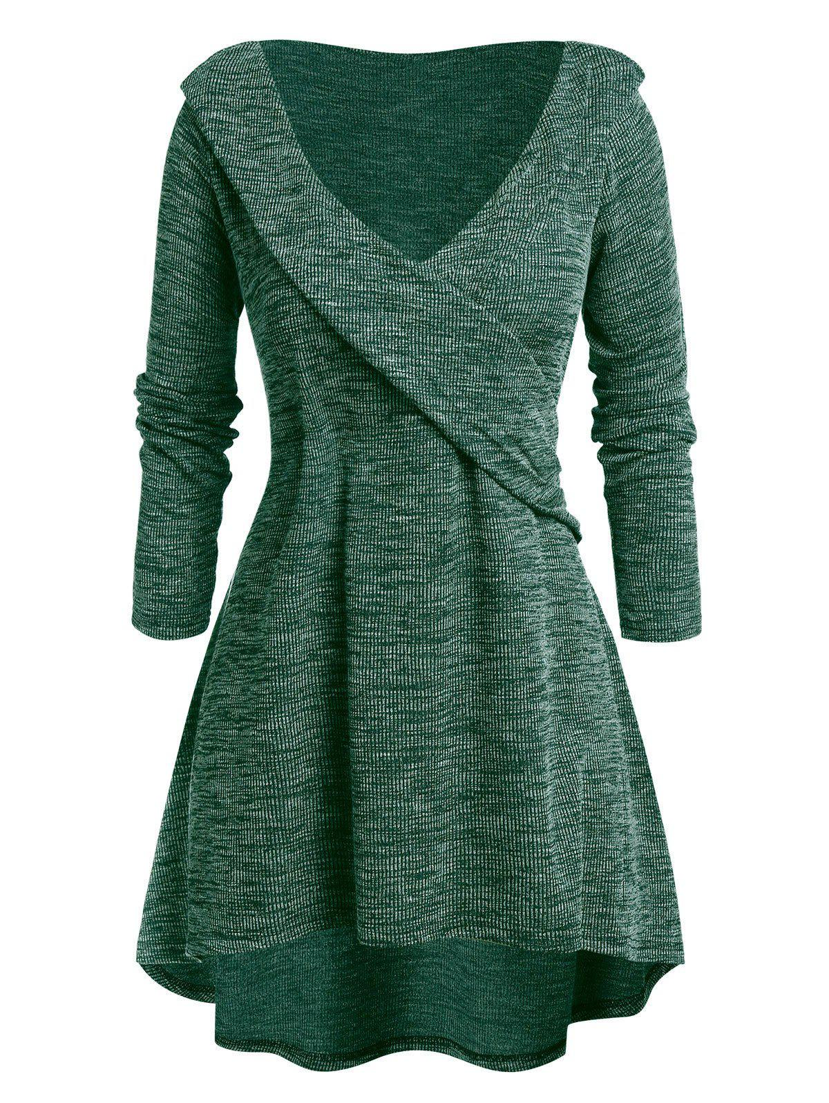Plus Size Tunic High Low Plunging Neck Sweater - DARK FOREST GREEN 3X