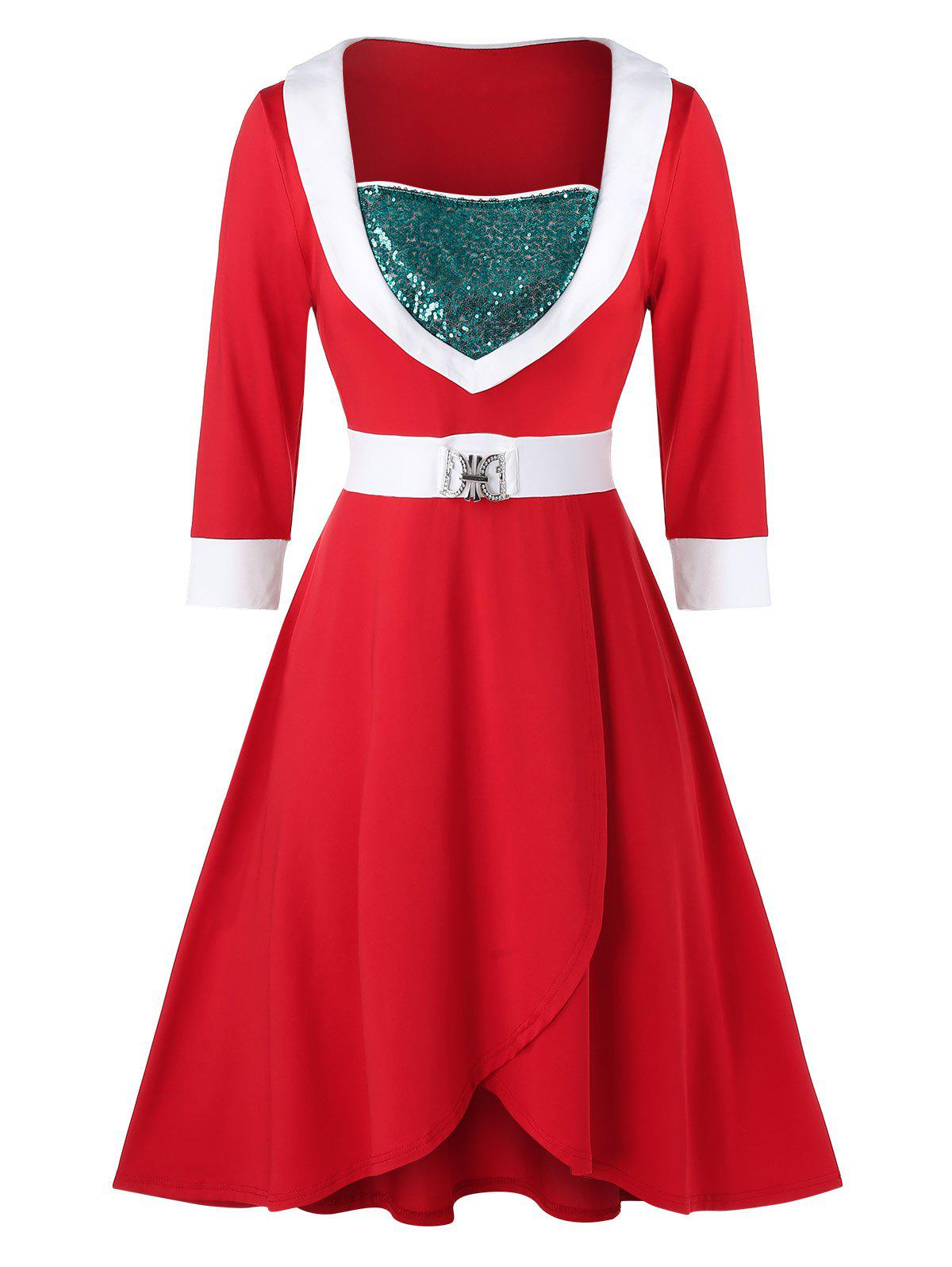 Plus Size Sequins Contrast Trim Christmas Dress - RED 5X