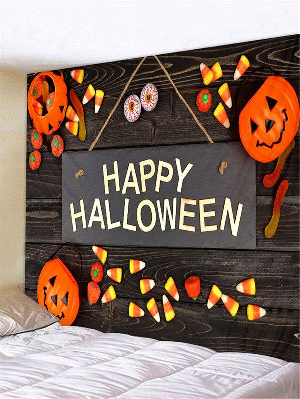 Happy Halloween Letter Pumpkin Wall Tapestry - PAPAYA ORANGE 150*150CM