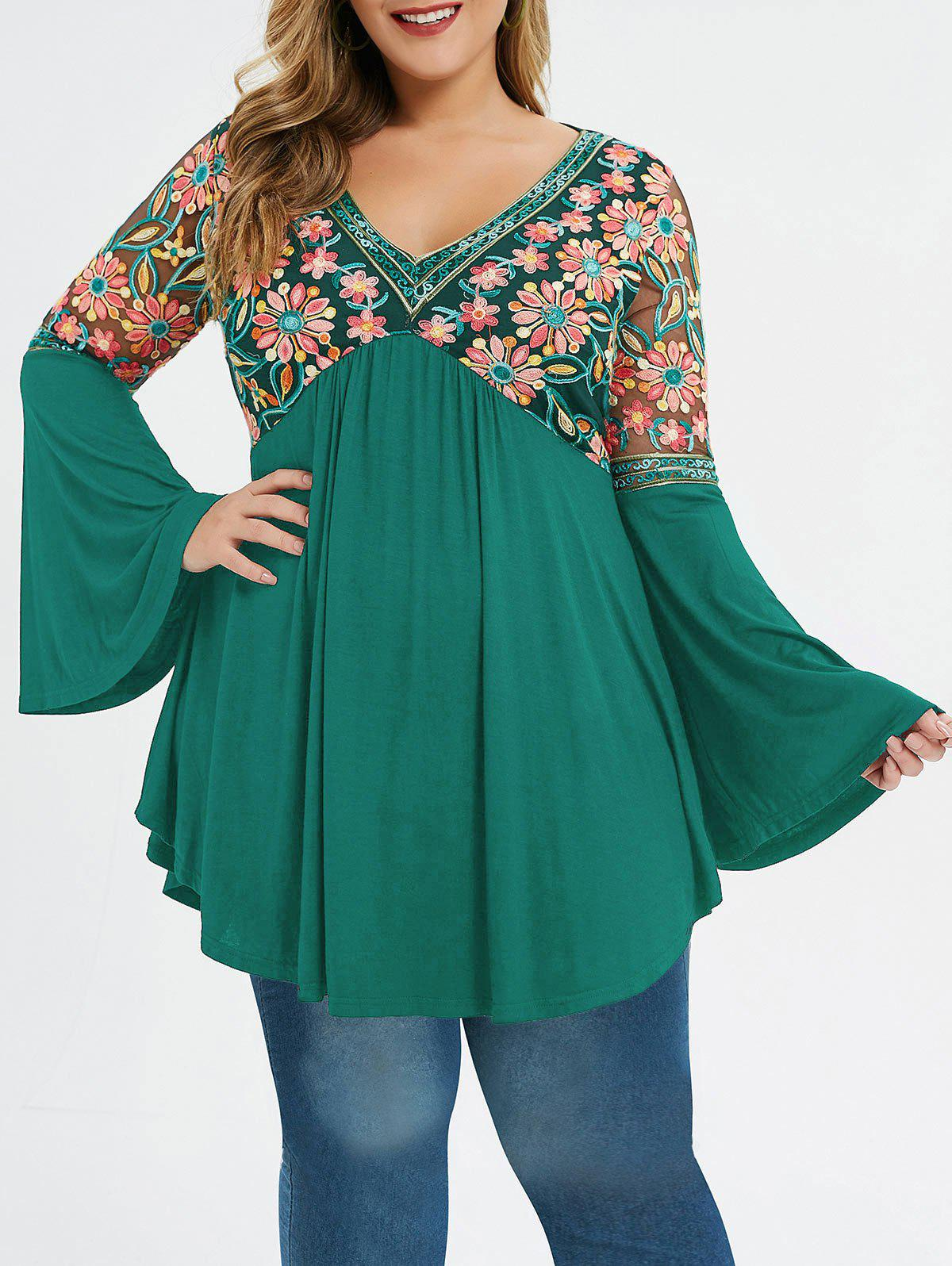 Plus Size Bell Sleeve Embroidery T-shirt - DARK TURQUOISE L