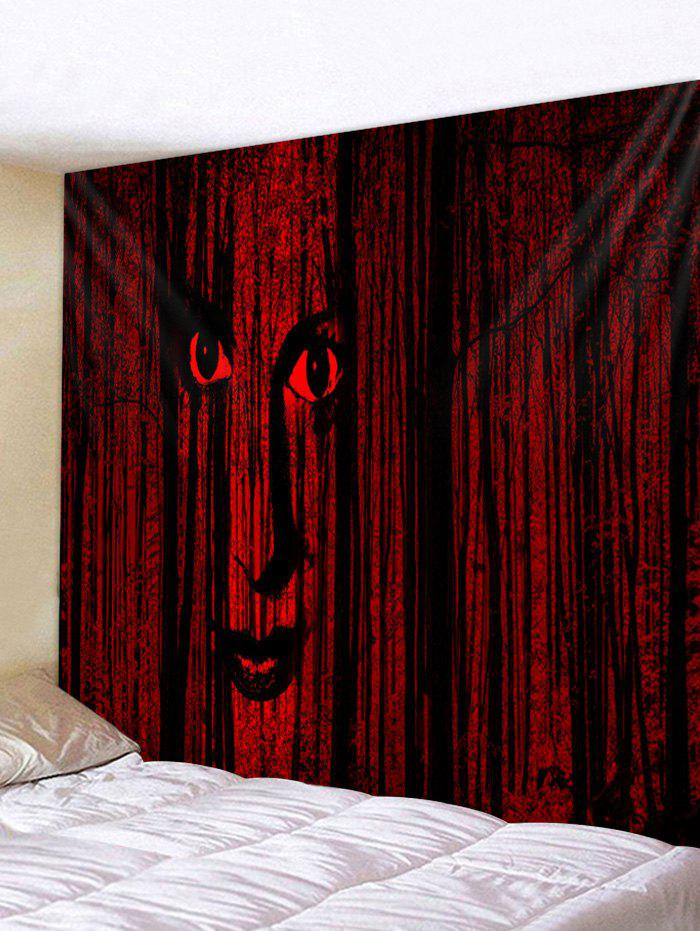 Halloween Face Forest Print Wall Tapestry - FIREBRICK W59 X L51 INCH