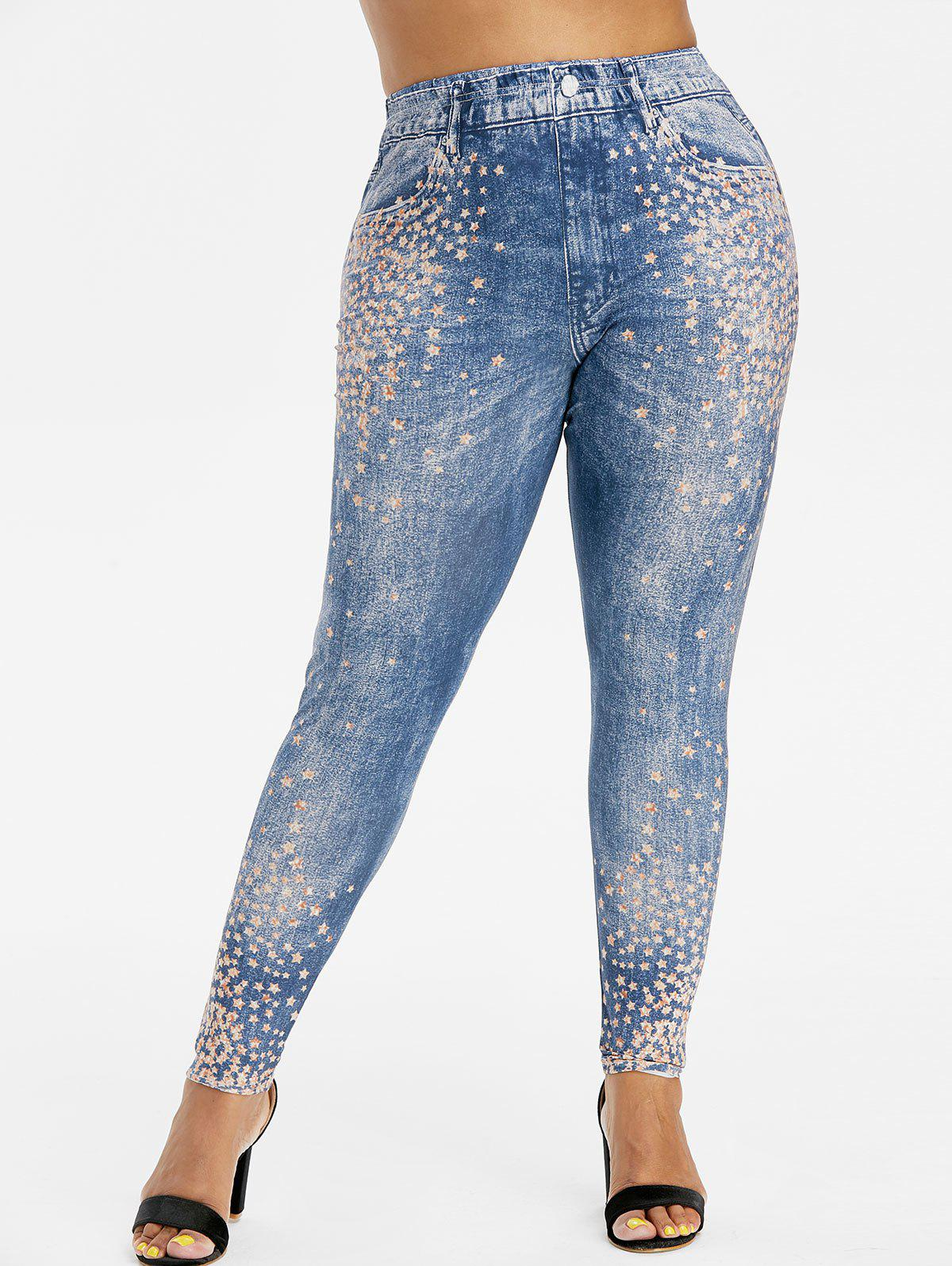 Plus Size High Rise Stars Print 3D Jeggings