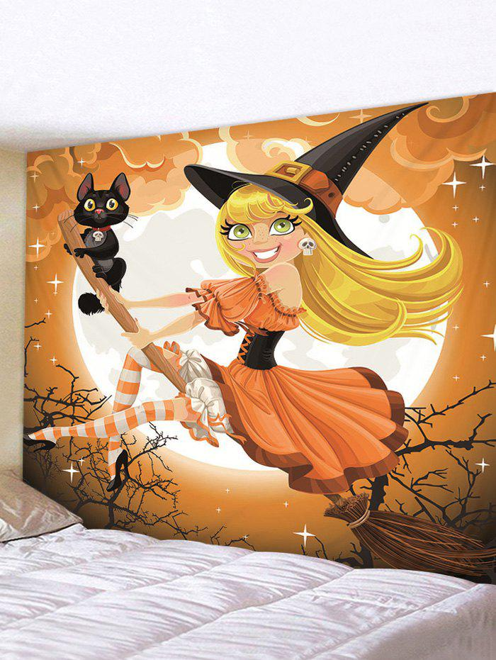 Halloween Printing Witch Wall Tapestry - multicolor A 230*180CM
