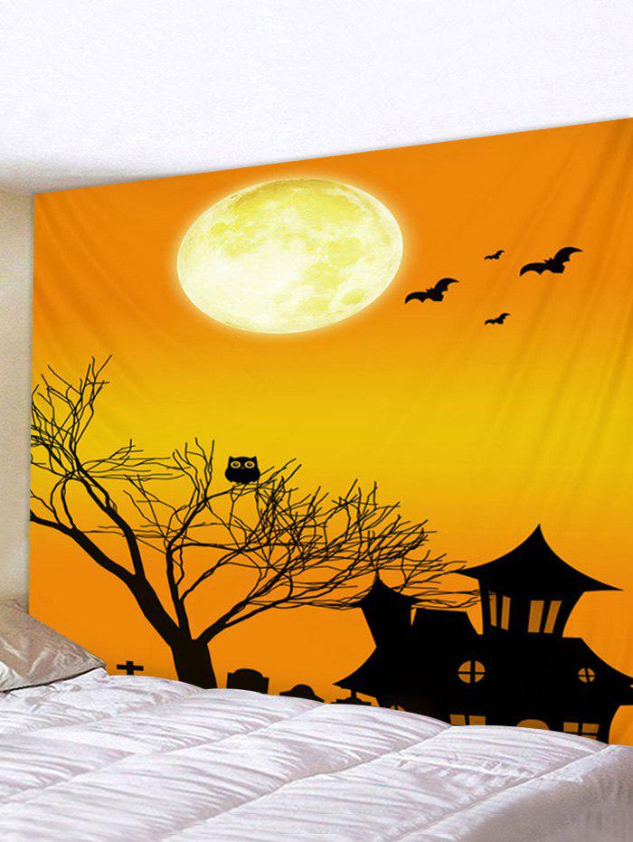 Halloween Digital Print Tree House Wall Tapestry - multicolor W79 X L59 INCH