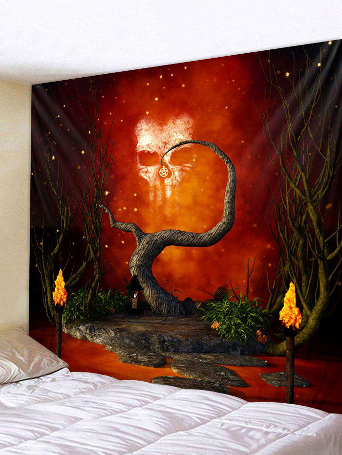 Halloween Skull Dead Tree Print Wall Tapestry - CHESTNUT RED W79 X L59 INCH