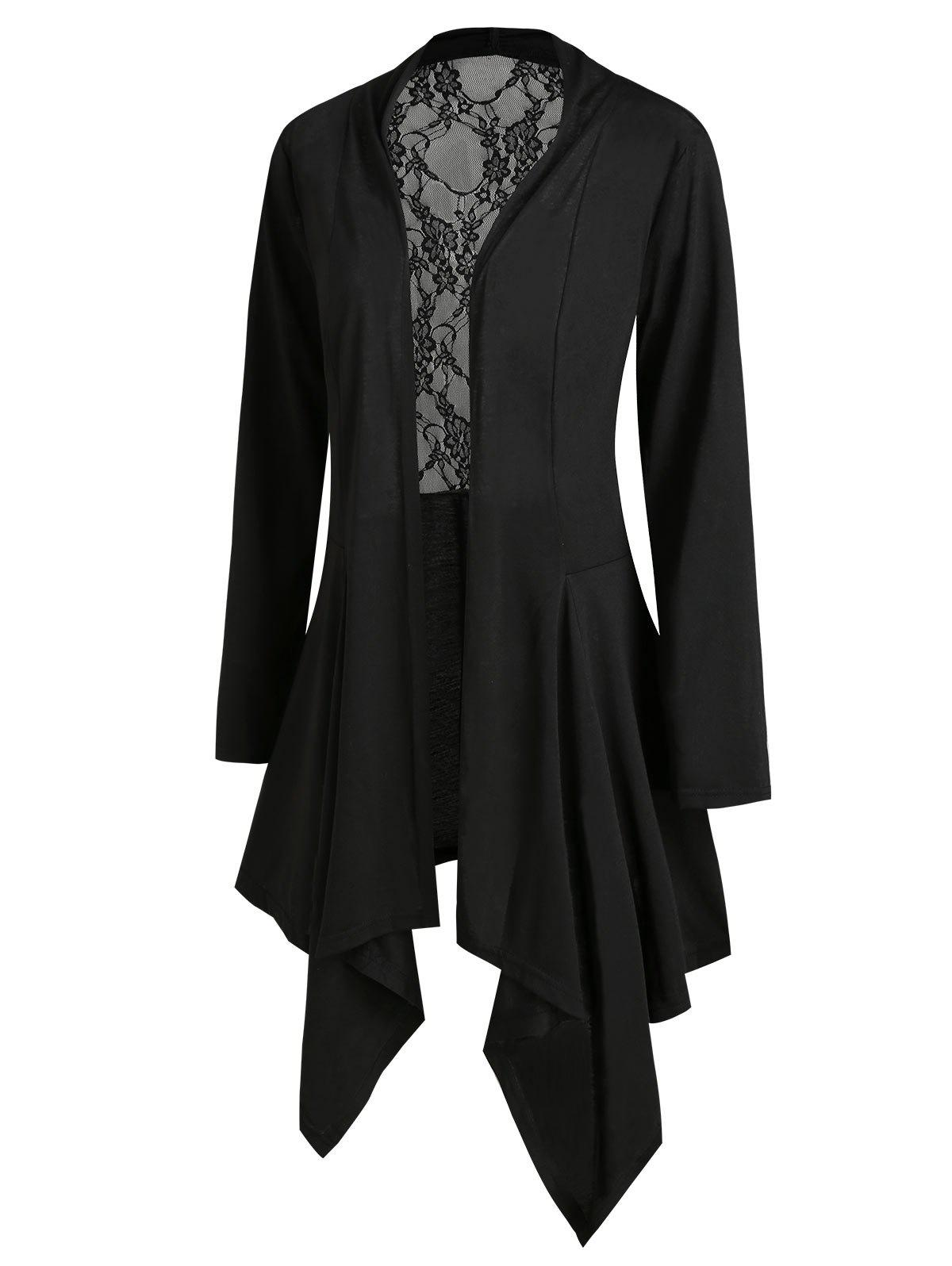 Lace Panel Open Front Handkerchief Plus Size Cardigan - BLACK 3X