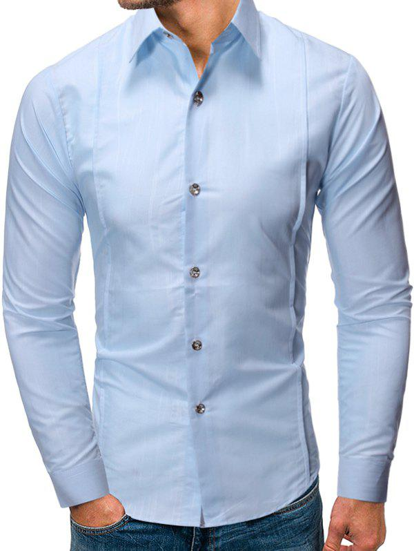 Solid Color Button Up Long-sleeved Shirt - POWDER BLUE L