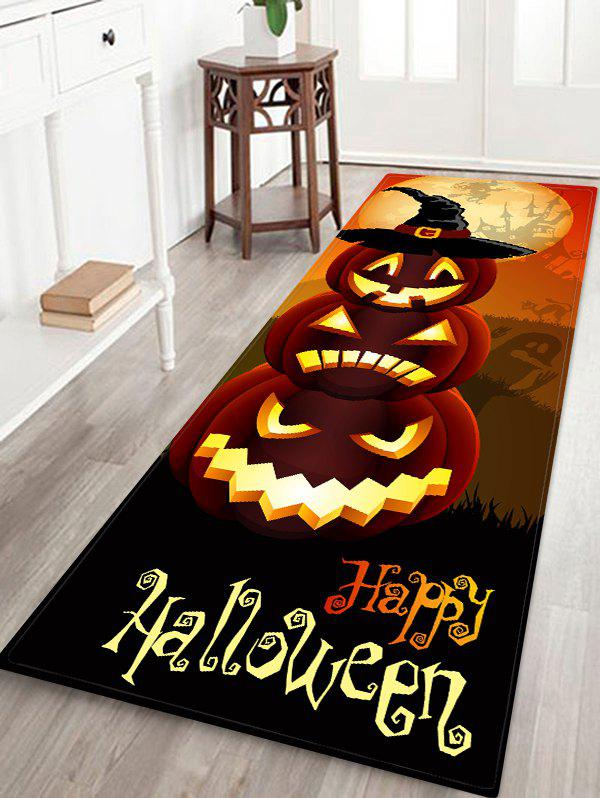 Halloween Cartoon Pumpkin Letter Floor Rug - CHOCOLATE W16 X L47 INCH