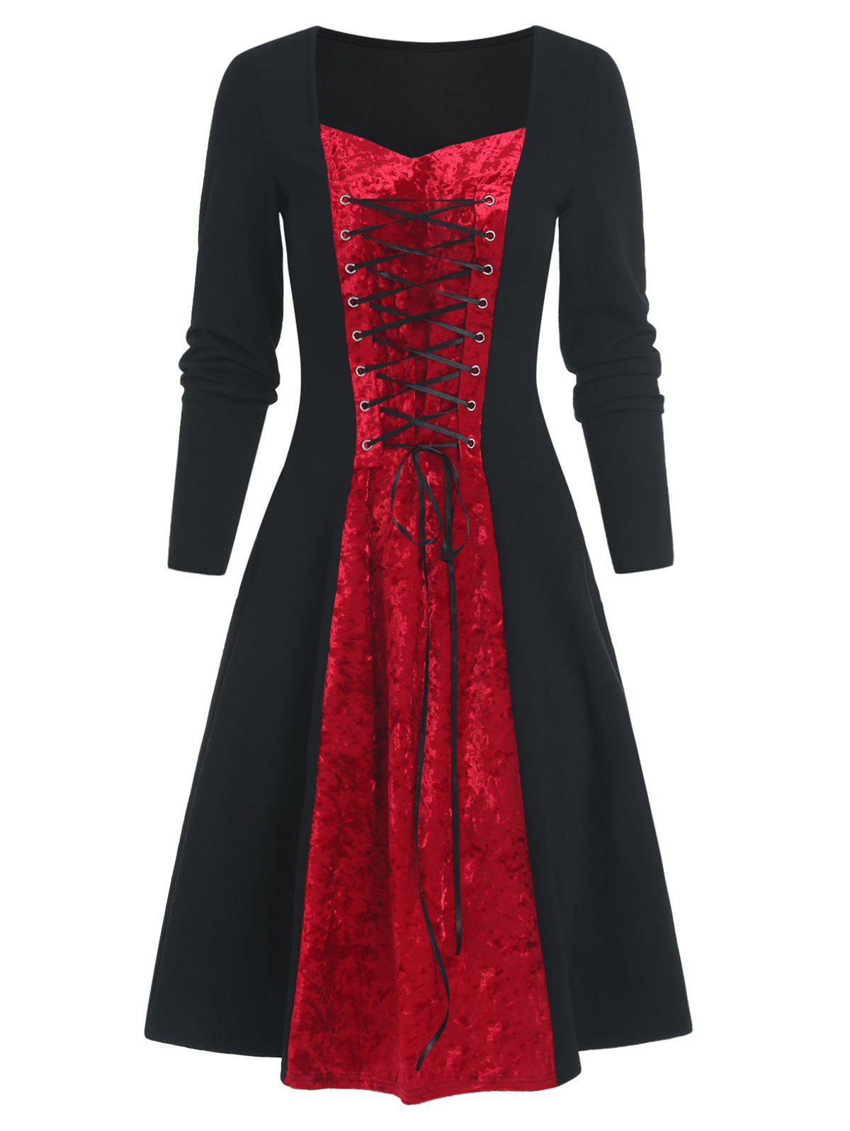 Lace Up Two Tone Velvet Panel Long Sleeve A Line Dress - BLACK 2XL
