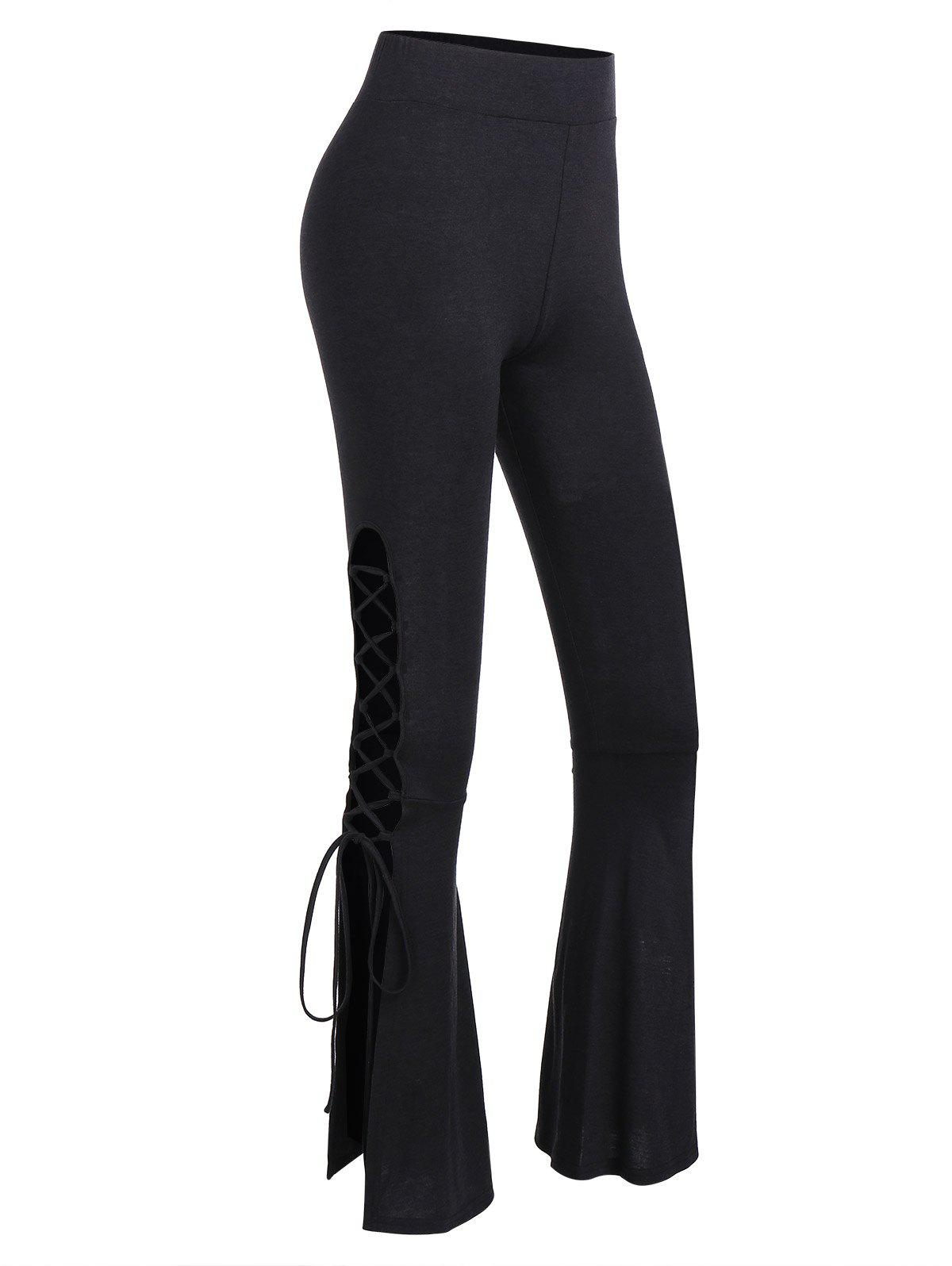 Lace Up Bell Bottom Pants - BLACK 3XL