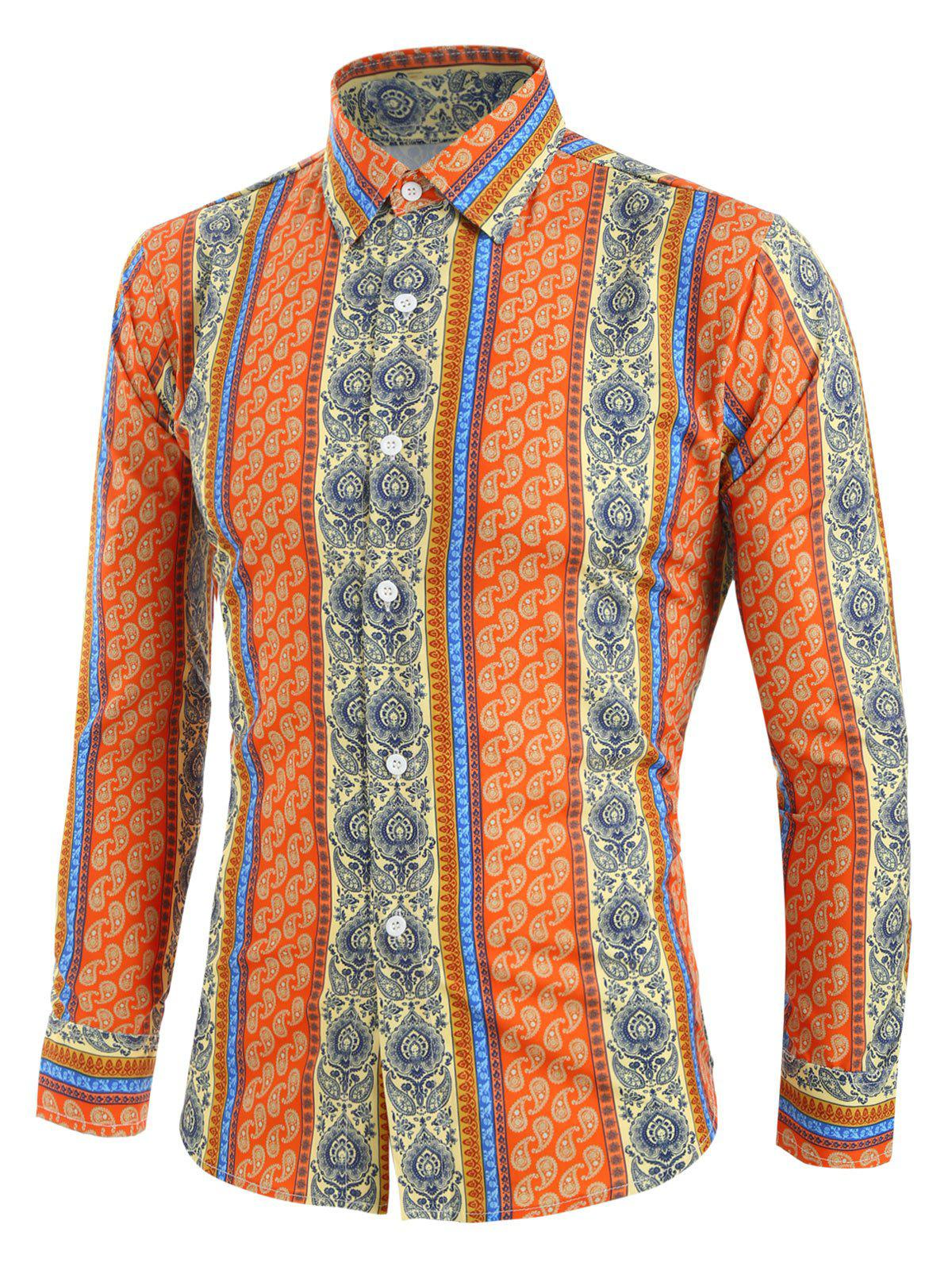 Tribal Print Button Up Long-sleeved Shirt - multicolor S