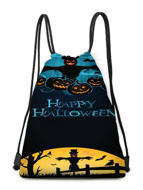 Halloween Moon Night Pumpkins Print Drawstring Backpack Candy Bag - multicolor