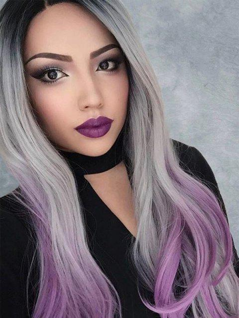 Center Part Halloween Ombre Wavy Synthetic Lace Front Wig - MEDIUM ORCHID 24INCH