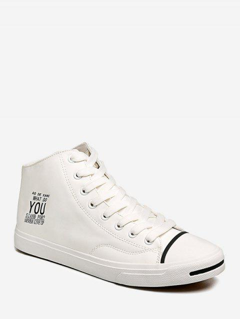 Letter Graphic Mid Top Casual Shoes - WHITE EU 41
