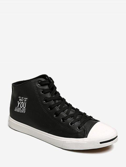 Letter Graphic Mid Top Casual Shoes - BLACK EU 42