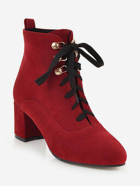 Pointed Toe Suede Ankle Boots - RED EU 38