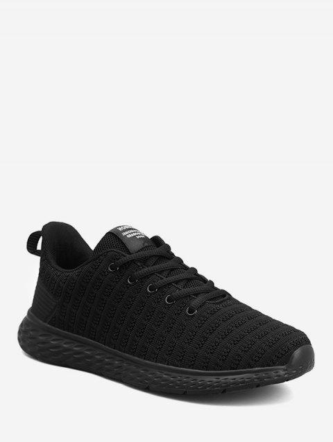 Striped Texture Low Top Running Shoes - BLACK EU 41