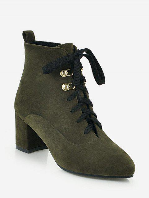 Pointed Toe Suede Ankle Boots - ARMY GREEN EU 40