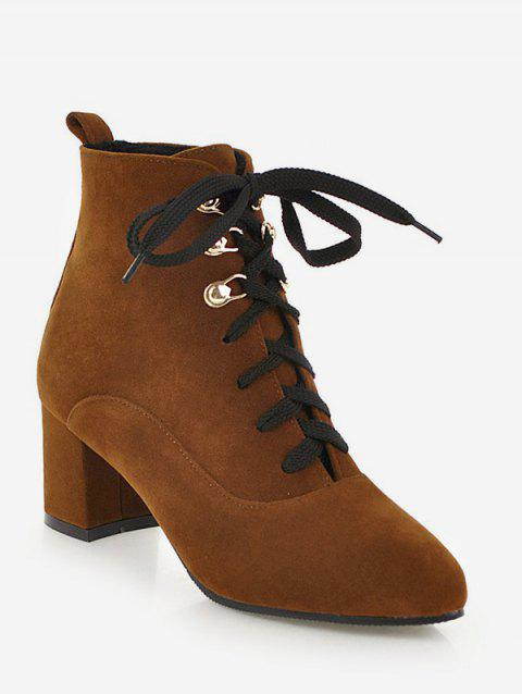 Pointed Toe Suede Ankle Boots - LIGHT BROWN EU 43