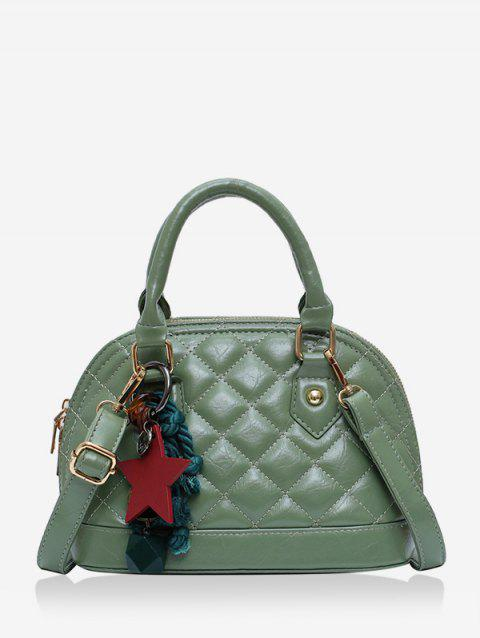 Star Rope Pendant Quilted Shell Handbag - DARK SEA GREEN