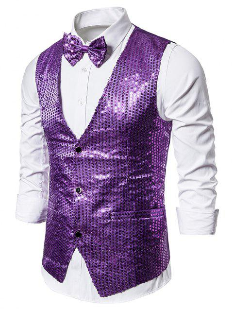 Glitter Sequined Single Breasted Tuxedo Vest with Bow Tie - PURPLE M