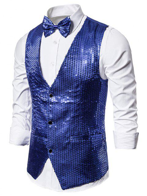 Glitter Sequined Single Breasted Tuxedo Vest with Bow Tie - BLUE L