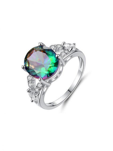 Colorful Zircon Egg Shape Ring - SILVER US 9