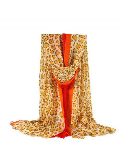 Leopard Stripe Color-blocking Fringe Long Scarf - YELLOW