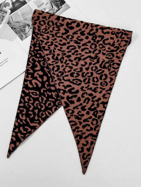 Leopard Double Faced Triangle Neck Scarf - COFFEE