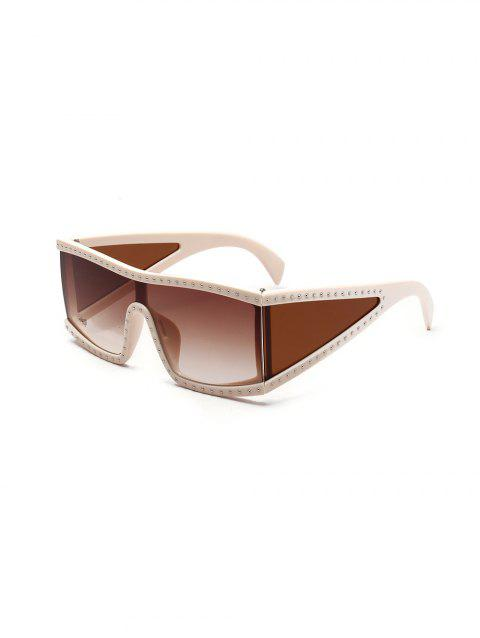 Oversized Square One-piece Rivet Sunglasses - LIGHT BROWN