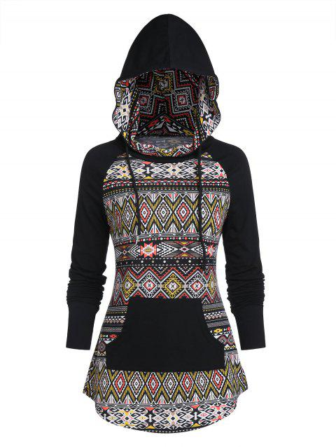 Tribal Print Kangaroo Pocket Raglan Sleeve Curved Hem Hoodie - BLACK 3XL