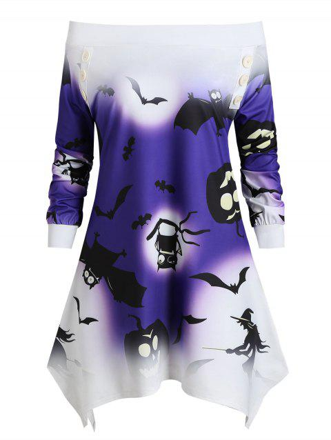 Bat Pumpkin Ombre Skew Neck Asymmetric Halloween Top - DARK ORCHID 3XL