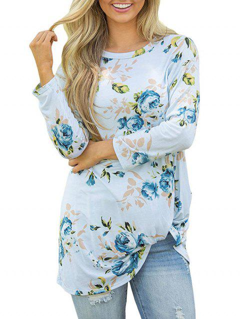 Floral Print Twisted Long Sleeves Tee - LIGHT SKY BLUE XL
