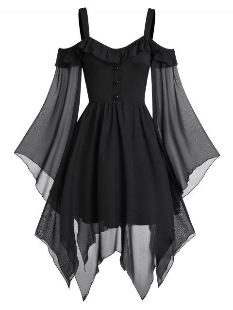 Butterfly Sleeve Cold Shoulder Lace-up Handkerchief Gothic Chiffon Dress - BLACK S