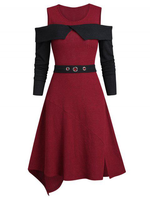 Open Shoulder Contrast High Waist Sweater Dress - RED WINE 3XL