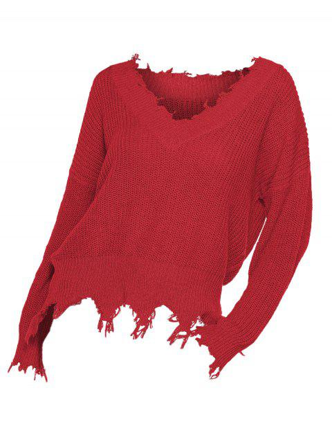 Plus Size Frayed Hem Solid Drop Shoulder Sweater